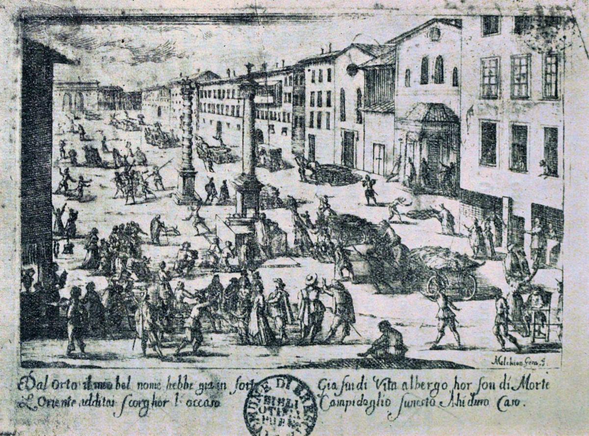 Melchiorre Gherardini, Piazza di S. Babila durante la peste del 1630
